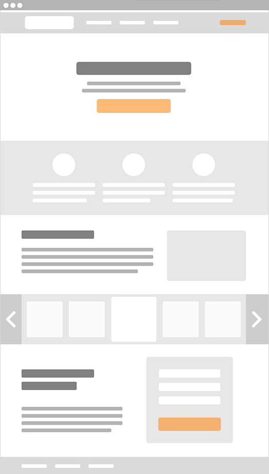 Webpage wireframe example